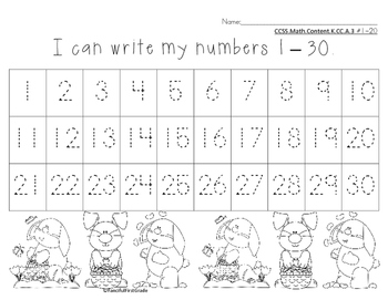 photograph regarding Free Printable Numbers 1-30 called Selection Chart 1-30 Worksheets Coaching Components TpT