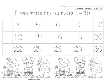 Number Chart 1-30 Easter Spring Theme