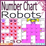 Number Chart 1 - 30 - Number Chart Robots - Holiday Math Fun