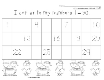 Number Chart 1-30 St. Patrick's Theme