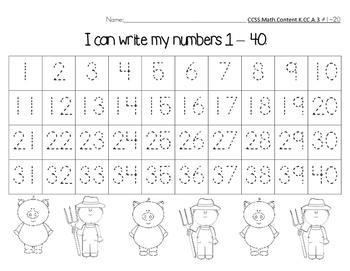 Number Chart 1-40 Farm Pig Theme