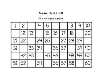 Number Chart 1-60 : Fill In The Missing Numbers by Ava-Do's ...