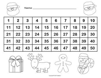 Number Chart 1 to 50 - Christmas Theme