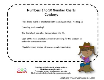 Number Chart 1 to 50 - Cowboy Theme