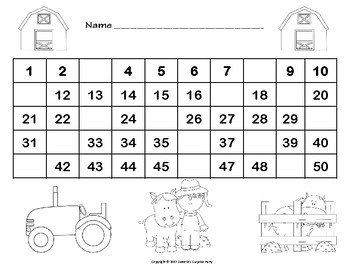 Number Chart 1 to 50 - Farm