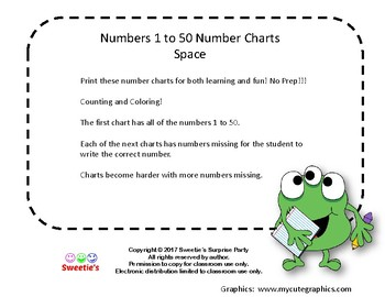 Number Chart 1 to 50 - Monsters