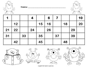 Number Chart 1 to 50 - Monster Theme