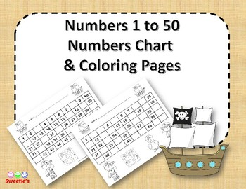 Number Chart 1 to 50 - Pirate Theme