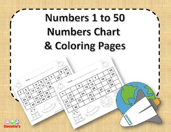 Number Chart 1 to 50 - Space Theme