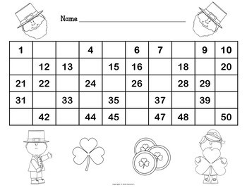 Number Chart 1 to 50 - St Patrick's Day