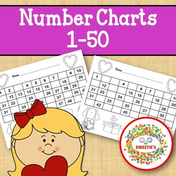 Number Chart 1 to 50 - Valentine's Day