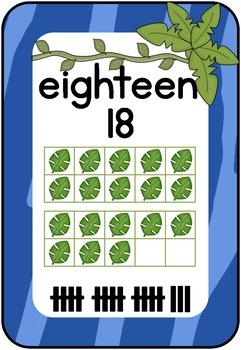 Number Chart: Colored Zebra Print, Jungle Themed