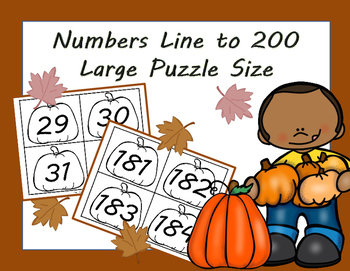 Pumpkin Large Numbers for Puzzle, Number Line