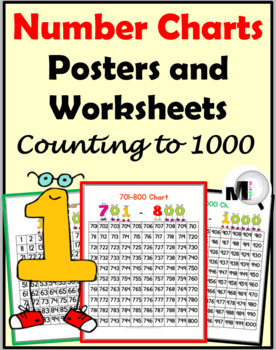 number charts to 1000 posters worksheets by marcia murphy tpt. Black Bedroom Furniture Sets. Home Design Ideas