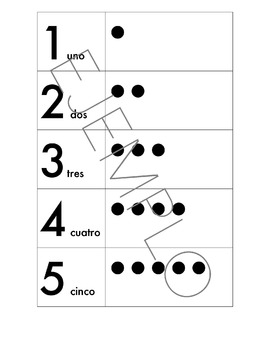 Number Chart in Spanish