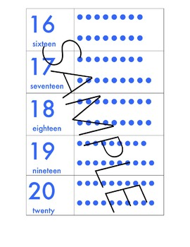 Number Chart in a Variety of Colors