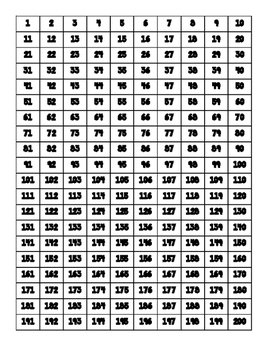 Number Charts to 1000 by PositiveTeaching | Teachers Pay Teachers