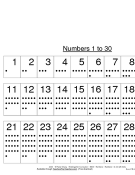 Number Chart with Dots 1 to 30