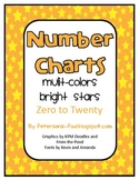 Number Charts 0-20 Bright Colored Stars