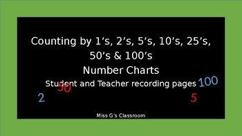 Number Charts- 1,2,5,10,25,50 and 100's and Teacher Pages