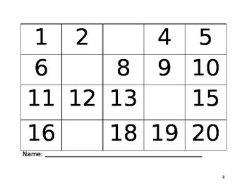 Number Charts 1-20 Number Sense - Fill in the Missing Numbers