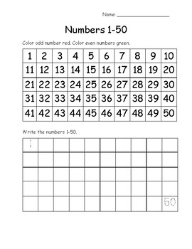 Number Charts 1 to 20, 50, 100, and 120
