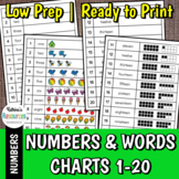 Number Charts 1 to 20 with Words and Amounts