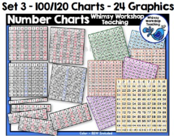 Number Charts, 100 Charts, 120 Charts Clip Art - Whimsy Workshop Teaching