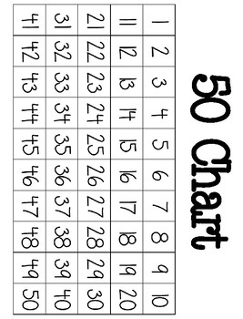 Number Charts-- 50, 100, 120, 150, and 200