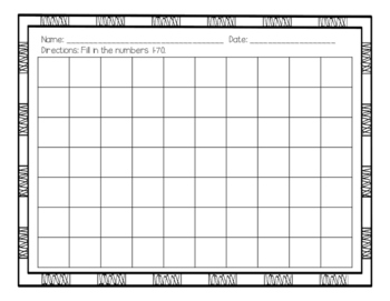 Fill In Number Charts