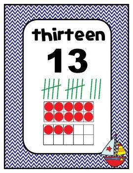 Number Charts Nautical Theme 0-30