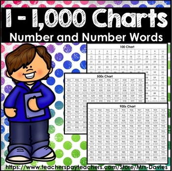 Number Charts With Number Words 1 - 1,000