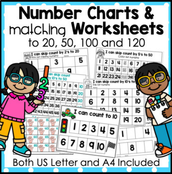 Number Charts and Worksheets for Skip Counting, Counting, Odd and Even Numbers.