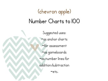 Number Charts to 100 {Chevron Apple}