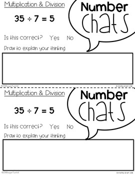 Number Chats Multiplication and Division Second Grade