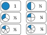 Number Circle Fractions printable Flash Cards. Math fractions flashcards.