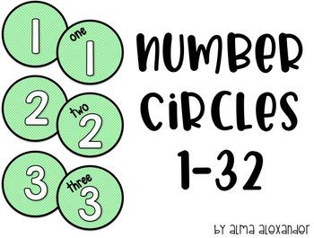 Number Circles Mint Dots