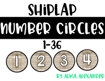 Number Circles 1-36 - Shiplap - Student Numbers