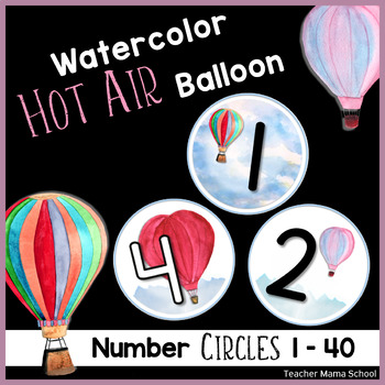 Number Circles 1 to 20 - Watercolor Hot Air Balloon Theme | 3 Designs |