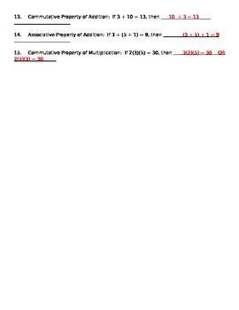 Number Classification, Commutative & Associative Property Worksheet