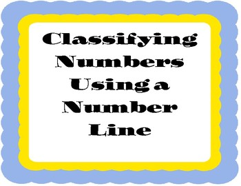Number Classification Foldable Using a Number Line