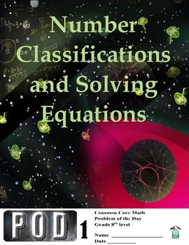Common Core Math: Number Classification and Solving Equations POD 1