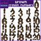 Number Clip Art- Brown Crayon Numbers {jen hart Clip Art}
