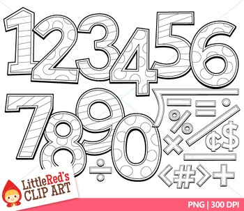 Number Clip Art { Candy Pastel Numbers - Color and Blacklines Included! }