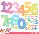 Number Clip Art { Candy Pastel Numbers - Color and Blackli