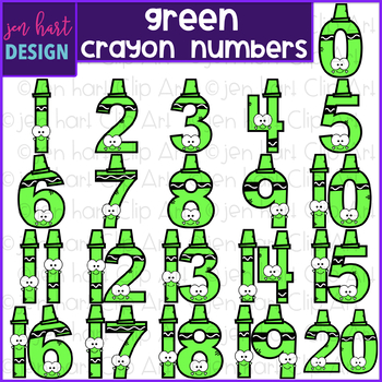 Number Clip Art- Green Crayon Numbers {jen hart Clip Art}