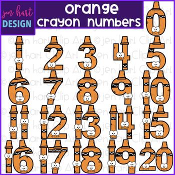 Number Clip Art- Orange Crayon Numbers {jen hart Clip Art}