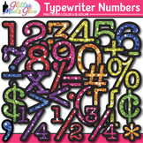 Rainbow Typewriter Numbers Clip Art | Glitter Letters for Classroom Decor