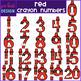 Number Clip Art- Red Crayon Numbers {jen hart Clip Art}