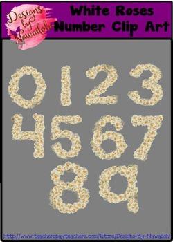 Number Clip Art - White Roses
